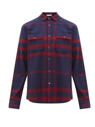 Frame Refined Checked Brushed Cotton Shirt Navy Multi
