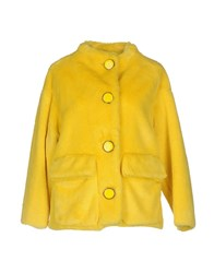 Douuod Coats And Jackets Faux Furs Yellow