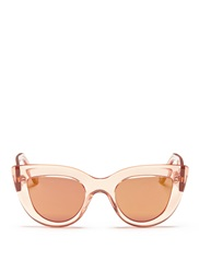 Ellery X Graz 'Quixote' Acetate Cat Eye Mirror Sunglasses Pink Metallic