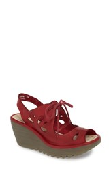 Fly London Yend Platform Wedge Sandal Red Leather