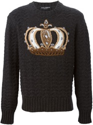 Dolce And Gabbana Crown Embroidered Sweater Grey