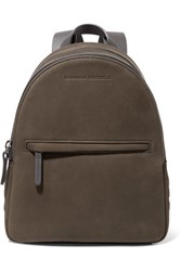 Brunello Cucinelli Leather Trimmed Studded Suede Backpack Army Green