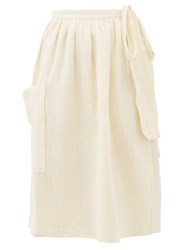 Loup Charmant Tofo High Waist Cotton Seersucker Midi Skirt Cream