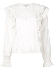 Rachel Zoe Ruffled Striped Top White