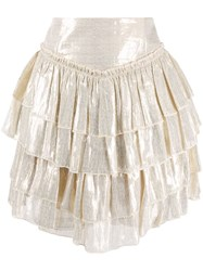 Alice Mccall High Waisted Tiered Skirt Gold