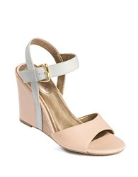Me Too Lucie Leather Wedges Nude