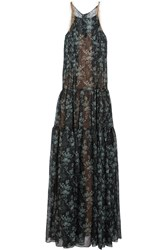 Vera Wang Tulle Trimmed Floral Print Silk Gauze Gown Gray