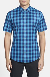 Zachary Prell 'Contreras' Regular Fit Short Sleeve Check Sport Shirt Turquoise Blue