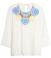 Peter Pilotto Athena Embroidered Crepe Blouse White