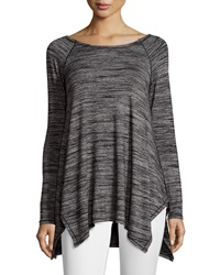 Chelsea And Theodore Space Dye Long Sleeve Tunic Blk Wht