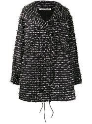 Jourden Foil Embellished Boxy Coat Black