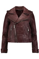 Marc By Marc Jacobs Washed Leather Biker Jacket Merlot
