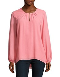 Ellen Tracy Pleated Hi Lo Blouse Pink