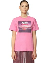 Paco Rabanne Printed Cotton Jersey T Shirt Pink