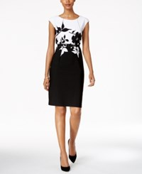 Connected Petite Belted Contrast Floral Sheath Dress Black