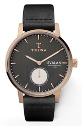Triwa Noir Svalan Leather Strap Watch 34Mm Black Rose Gold