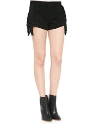 Lamarque Willa Suede Short Shorts With Fringe Black