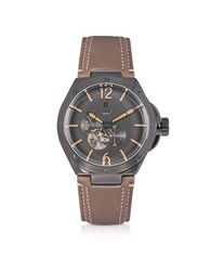 Lancaster Men's Watches Space Shuttle Meccanico Gunmetal Stainless Steel And Natural Nubuck Men's Watch