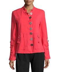 Neon Buddha Eternity D Ring Button Front Blazer Cosmic Coral