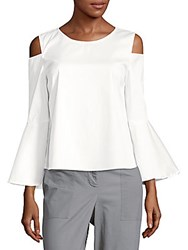 Saks Fifth Avenue Black Solid Cold Shoulder Top Pale Blue