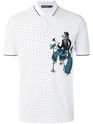 Dolce And Gabbana Drummer Patch Polo Shirt White