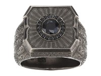 Stephen Webster Large Cigar Leaf Ring Sterling Silver Black Sapphire Ring