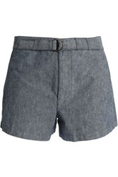 A.P.C. Belted Cotton And Linen Blend Shorts Mid Denim