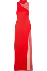 Galvan Shadow Tulle Paneled Stretch Knit Gown Red