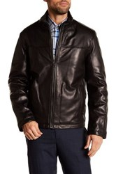 Cole Haan Genuine Leather Bomber Jacket Black
