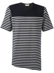 Marni Striped T Shirt Blue