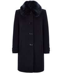 Cc Fur Trim Wool Duffle Coat Navy