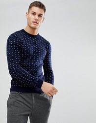 Ted Baker Crew Neck Jumper With Print Navy