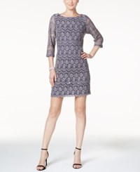 Jessica Howard Petite Lace Shift Dress Navy Taupe