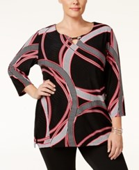 Jm Collection Plus Size Keyhole Printed Tunic Only At Macy's Ribbon Rings