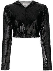 Faith Connexion Cropped Sequinned Jacket Black
