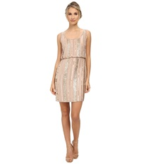 Aidan Mattox Beaded Blouson Tank Dress Blush Women's Dress Pink