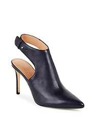 Halston Leather Slingback Ankle Boots Navy