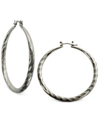 Guess Silver Tone Textured Hoop Earrings