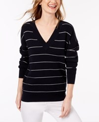Lacoste Striped Mini Waffle Knit Sweater Navy