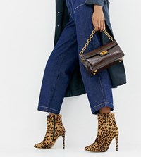 London Rebel Leopard Wide Fit Stiletto Ankle Boots Multi
