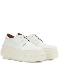 Acne Studios Sacha Patent Leather Platform Derby Shoes White