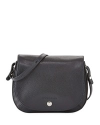 Longchamp Le Foulonne Small Leather Cross Body Bag Black Nickel