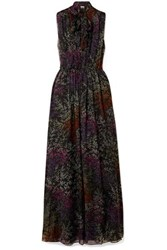 Co Pussy Bow Floral Print Silk Chiffon Maxi Dress Black