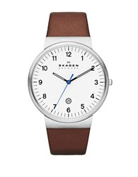 Skagen Mens Silvertone And Saddle Leather Watch Brown