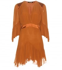 Roberto Cavalli Silk Chiffon Mini Dress Brown