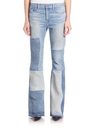 Polo Ralph Lauren High Rise Patchwork Flared Jeans Worn Out Patch Wash