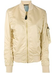Alpha Industries Arm Pocket Bomber Jacket Women Nylon M Nude Neutrals
