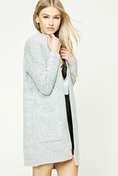 Forever 21 Longline Open Front Cardigan Heather Grey