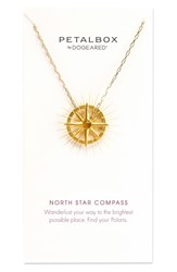 Dogeared Women's Petalbox North Star Compass Pendant Necklace Nordstrom Exclusive Gold