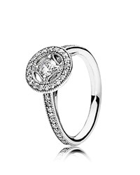 Pandora Design Ring Sterling Silver And Cubic Zirconia Vintage Allure